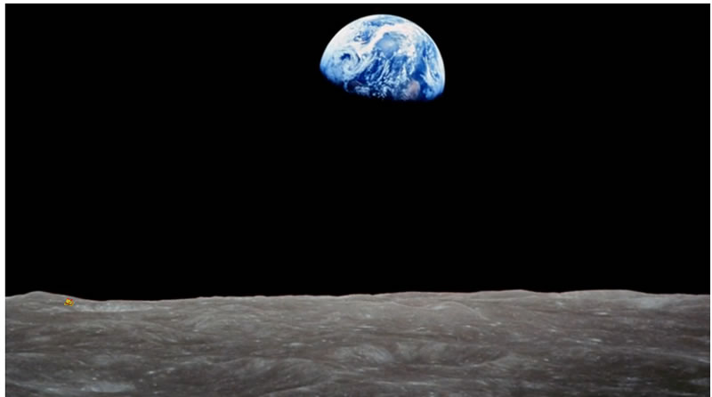 Planet earth viewed from moon surface