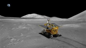 Moon rover on lunar surface