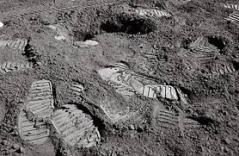 Human footprints on lunar surface
